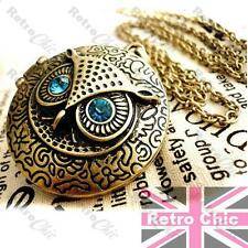 RETRO OWL LOCKET blue eyes LONG CHAIN vintage brass NECKLACE wise bird ROUND