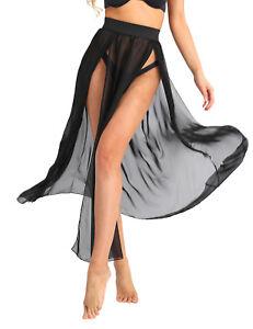 36d15e5682568 Sexy Women Sheer Swimwear Cover Up Summer Beach Long Skirt Side Slit ...