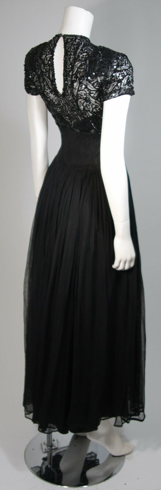 CEIL CHAPMAN Attributed Black Gown Size Small - image 7