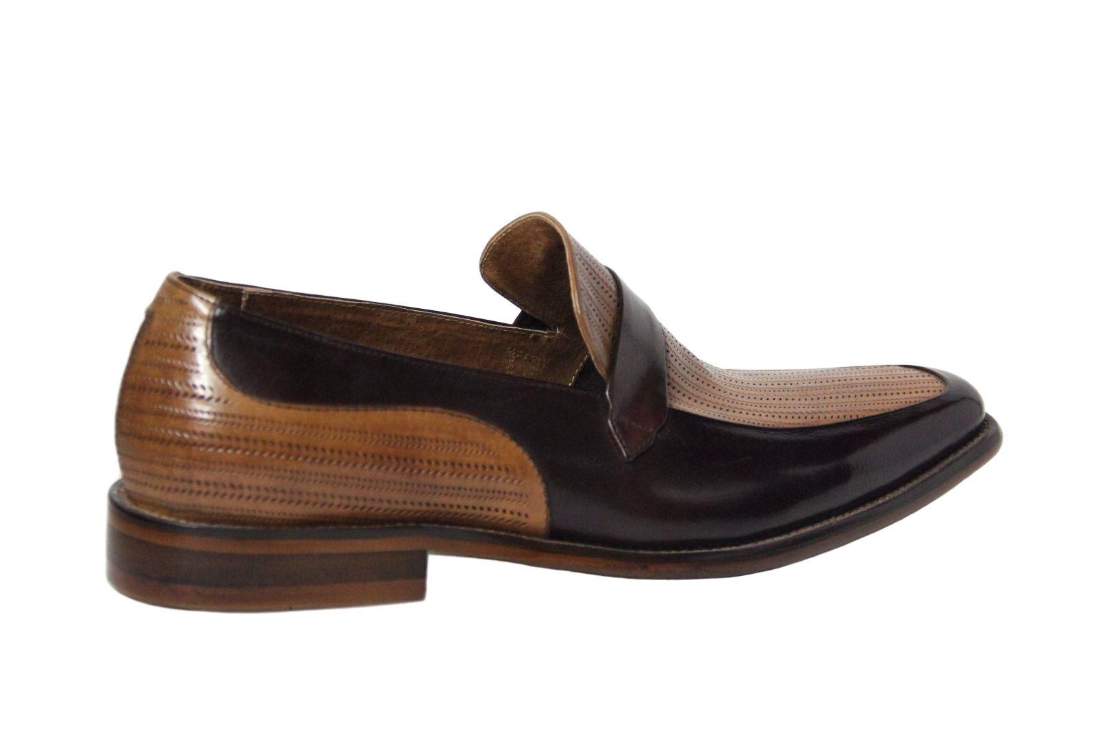 Zapatos de Cuero Steven Land Para Hombre Dos SLIP Tonos Borgoña/TAN SLIP Dos ON DRESS SL0011 04b2c8
