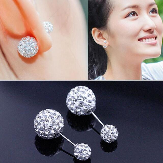 Pop  Womens Silver Plated Double Crystal Ball Ear Stud Earrings Jewelry Gift GT