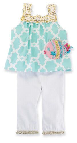 Mud Pie Baby Girl Fish Tunic /& Leggings 0-6 Months NWT 2-piece set Sea Ocean