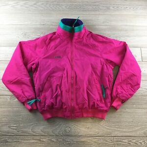Columbia Fleece Lined Bomber Jacket Womens L Pink Purple Full Zip Up Coat VTG