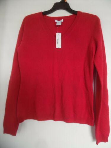 Nwt Maglione Worthington M Real scollo Red cashmere V 100 con a Sz g61gxpwA