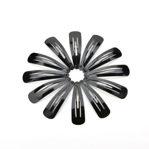 100 Pcs Girls Kids Hair Snap Clips Black Metal BB Hairclip Accessories 5cm Fa LZ