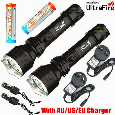 2x 500meter 1500lumen TACTICAL CREE Q5 LED POLICE FLASHLIGHT TORCH LAMP LIGHT C7