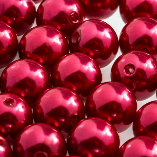 Acrylic Pearl Beads Round 12mm Chunky Red F104//1 Pack of 30