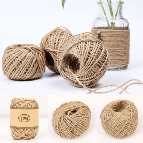 10//50//100m Jute Cord Burlap Rope Natural Twine String Crafts Decor 0.5//1.5//2mm
