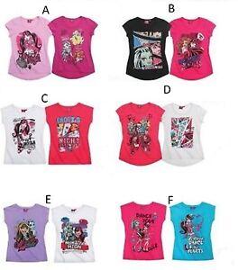 T-shirt-Filles-Tops-officiel-monster-high-vendu-comme-un-2-Pack-7-a-14-ans