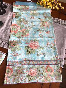 Image Is Loading April Cornell New Table Runner Tea Rose Aqua