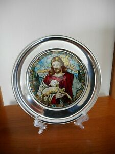 US-Historical-Society-Stained-Glass-amp-Pewter-Plate-1987-034-The-Good-Shepherd-034