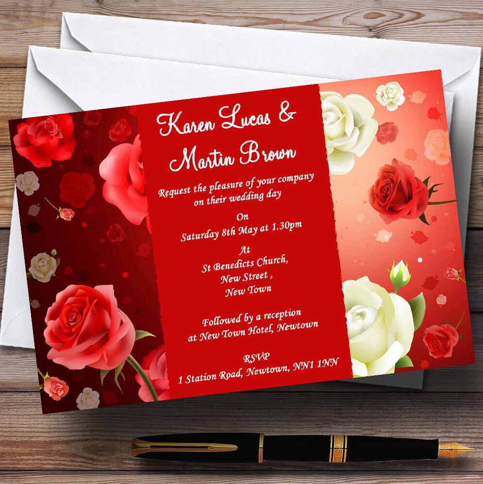 Rosso Rosso Rosso E Bianco rosa Personalizzato wedding invitations 444016