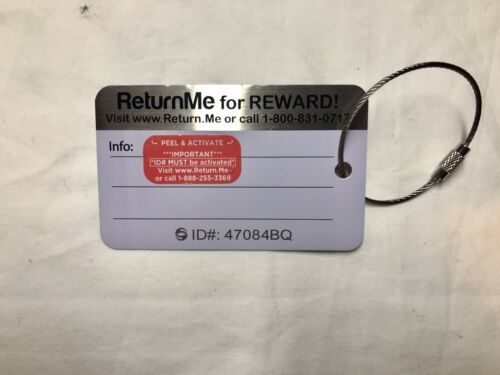American Airlines Hard Metal Luggage Tag Blue ReturnMe Brand New
