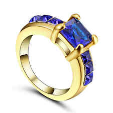 Ring Size 6 CZ Blue Sapphire Crystal Lady's yellow Rhodium Plated Wedding