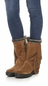 f98cf3c48fea SAM EDELMAN Sale Tilden Fringe Boots Bootie Brown Suede Leather ...