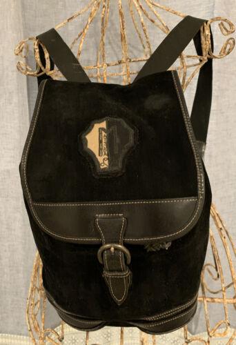 MATSUDA Backpack, Black Suede & Leather. Vintage