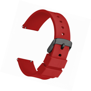 WOCCI-Silikon-Gummi-Uhrenarmband-mit-Schwarzer-Schnalle-Schnellverschluss-Ersat
