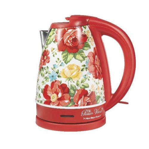 Pioneer Woman 1.7 Liter Electric Kettle Red//Vintage Floral 1500 WATTS