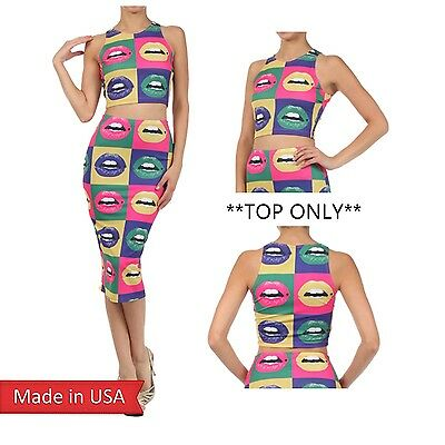Crop Tank Top Short Sexy Icon Vivid Color Lips Modern Pop Art Rock Made in USA