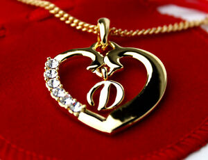 Image Is Loading Name Necklace Heart Pendant Letter 039 D 039