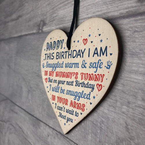 Daddy To Be Birthday Gift From Bump Wooden Heart Newborn Baby Fathers Day Gifts