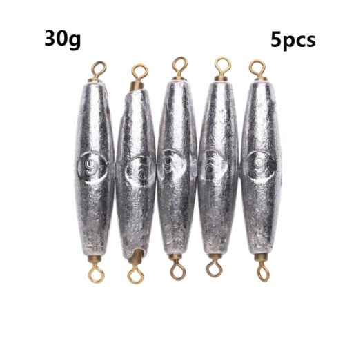 Durable Double ring Weights Olive Shaped Fishing Sinker Tackle Lead Sinkers