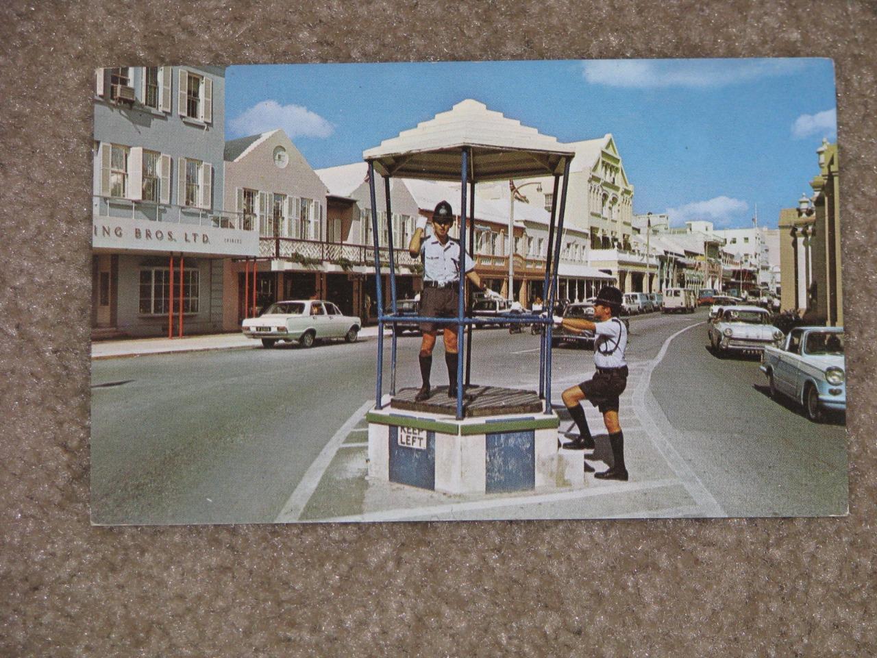 Hamilton Bermuda-Policeman in Birdcage Directing Traffic, Mid 1950`s