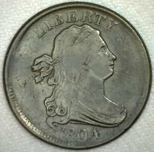 1804 Draped Bust Half Cent 1/2 Cent US Type Coin Plain 4 Stemless Variety XF
