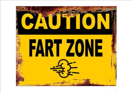 Novelty Fun Caution Fart Zone  Metal Sign Office Sign Wall Plaque  Joke sign