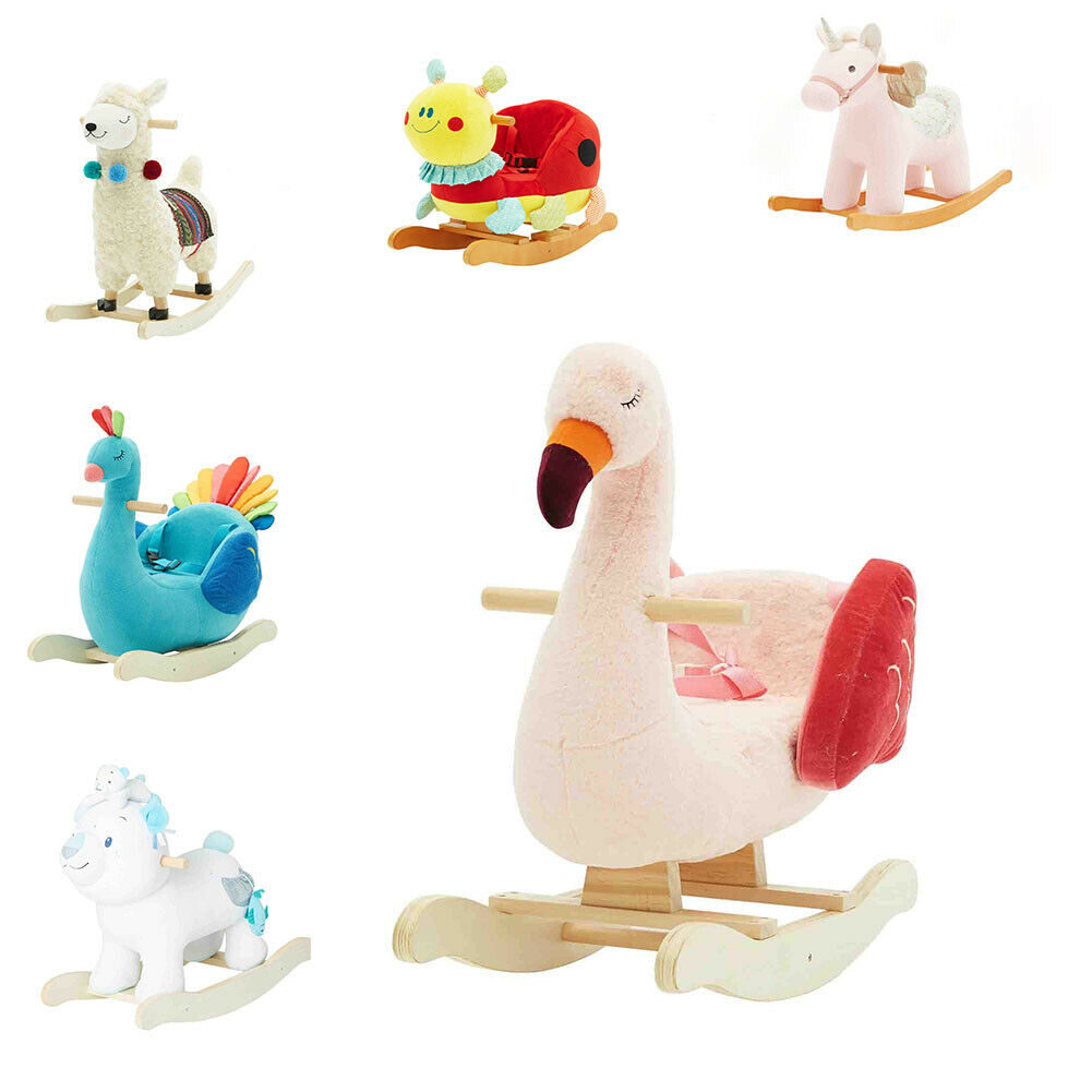 Plush Swan Flamingos Wooden Rocking Horse Toys Kids Ride On With Seat Belt Chair