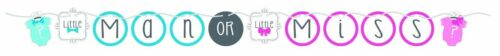 Arco o Bowtie Little Miss//hombre sexo revelan Baby Shower en forma de bandera de la cinta
