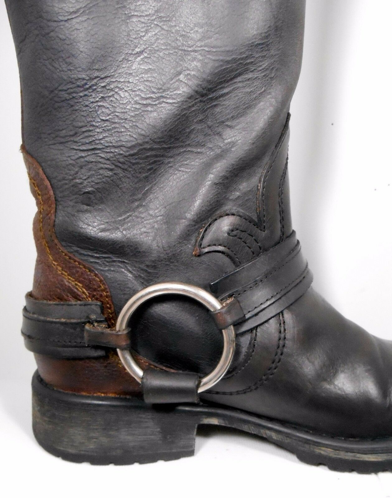 Steve Madden Judgement Distress Leather Riding Biker démarrage femmes US 5 Light Wear