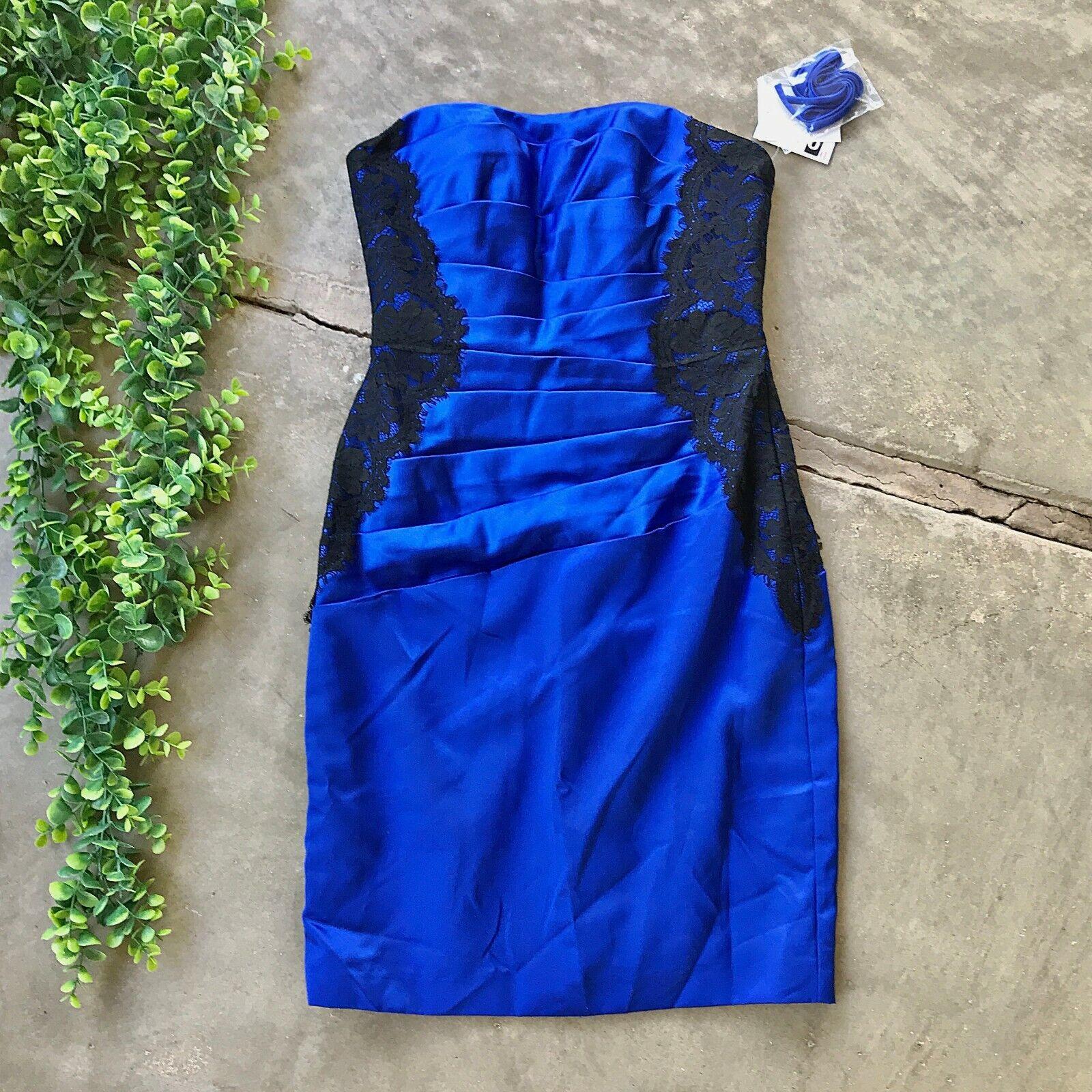 New Davids Bridal Strapless Dress • Blue Black Lace Pleated • Size 2