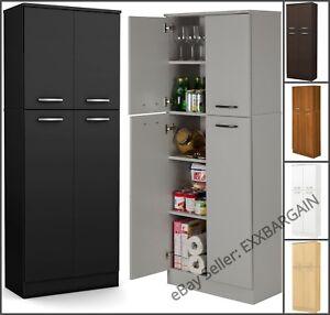 Details about Kitchen Pantry Storage Cabinet Tall 5-Shelf 4-Door Food  Organizer Wood Cupboard