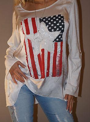 NEU!Batik Shirt Stars&Stripes Pailletten Stern Bluse Tunika 36-40 One Size Weiß