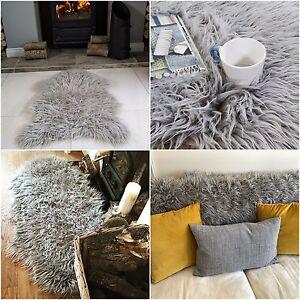faux fur sheepskin rugs non slip bedroom rugs fluffy soft shaggy grey silver rug ebay. Black Bedroom Furniture Sets. Home Design Ideas