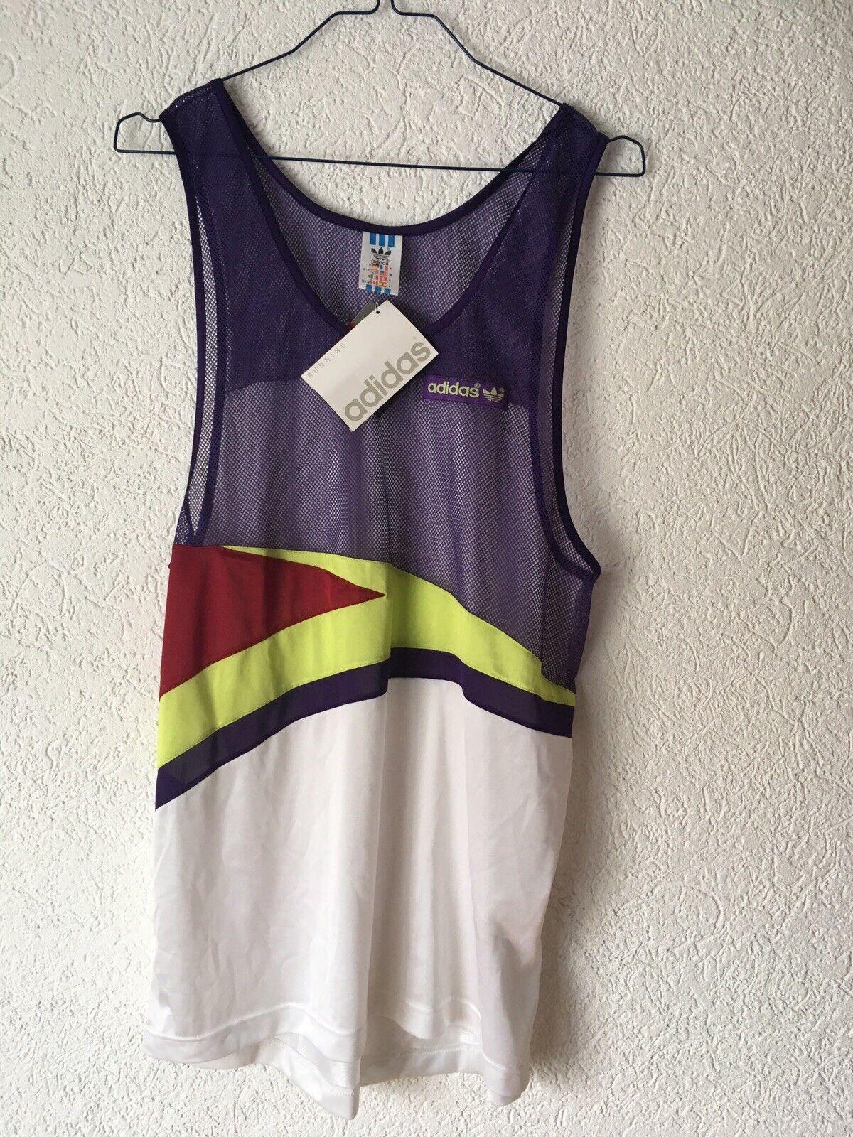 Adidas Shirt M Sprinter Laufen Jogging Fitness Vintage Glanz Nylon Lycra Top Neu