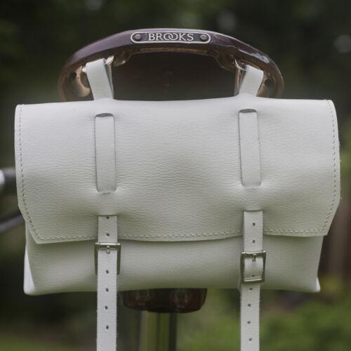 Bike Large Natural Leather Bicycle Bag Saddle Handlebar Seat Box WHITE bicycle
