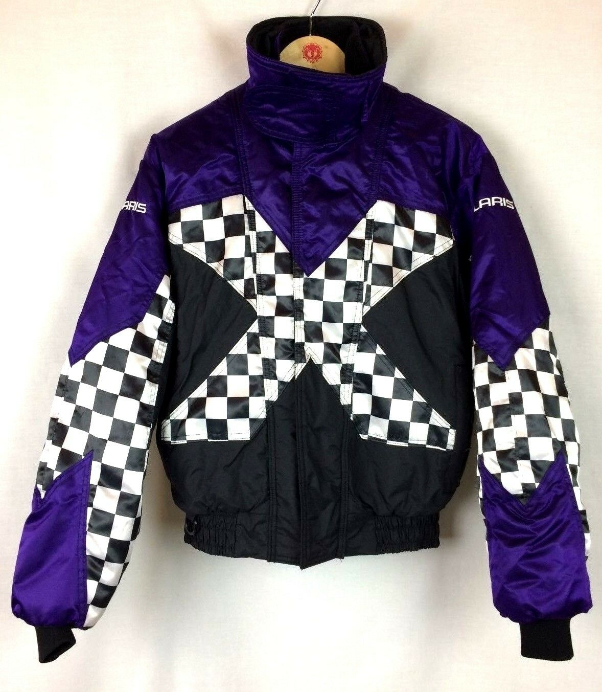 Polaris Men's sz Medium M Purple Snowmobile Coat Thermoloft Spellout USA made