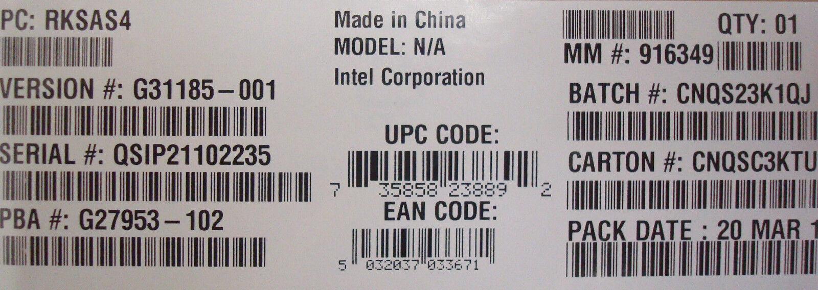 Intel RKSAS4 RAID SAS C600 PCIe SG27953 Upgrade Key New Bulk Packaging
