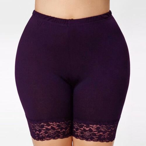 Women Plus Size Mid Waist Lace Shorts Elastic Sport Pants Trousers Lace Leggings