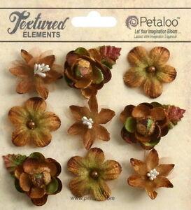 VINTAGE-VELVET-Textured-Mini-MOCHA-Blossoms-x-9-Fabric-Flowers-25-30mm-Petaloo-C