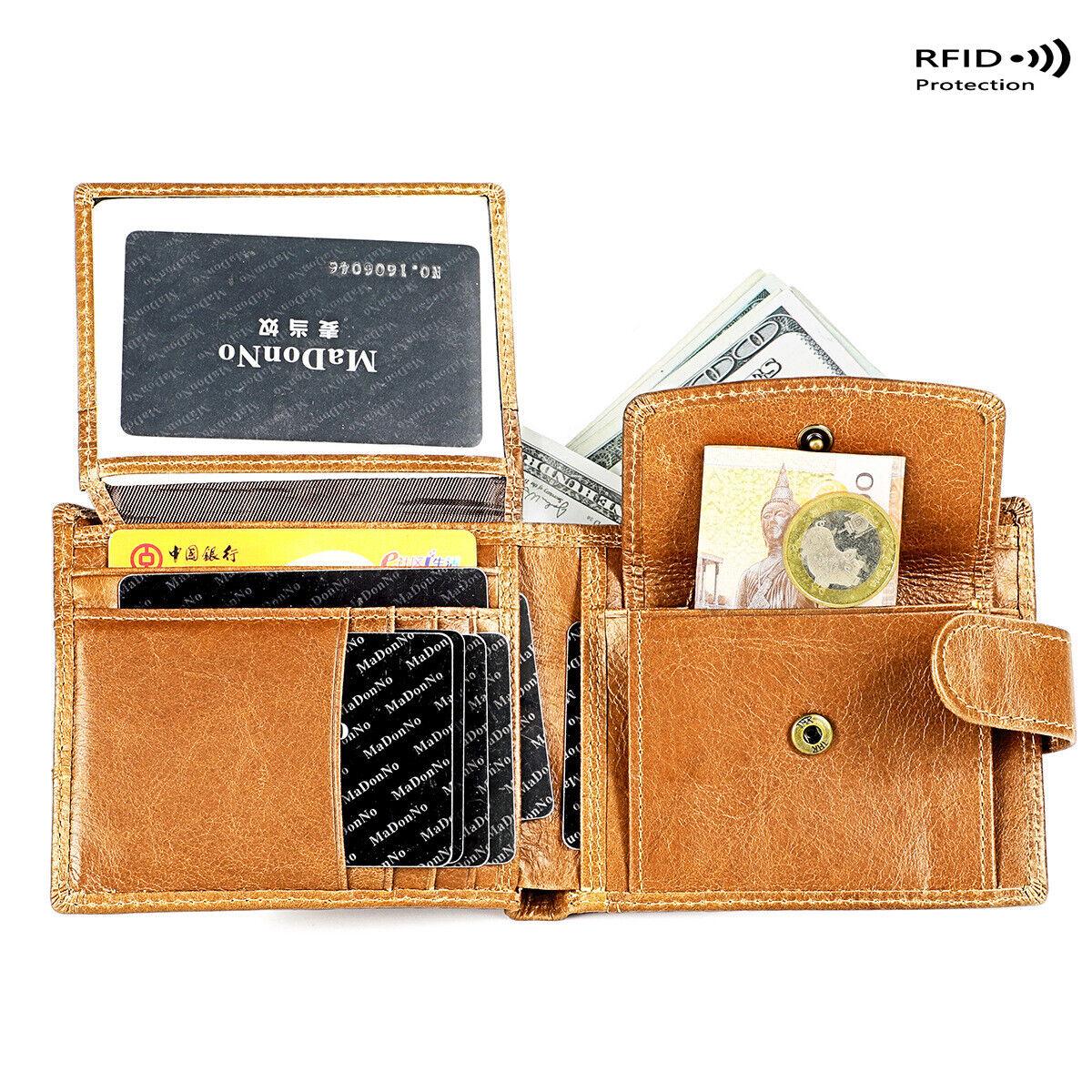 100% Genuine Leather Men's Bifold Wallet RFID Blocking ID Card Holder Coin Purse