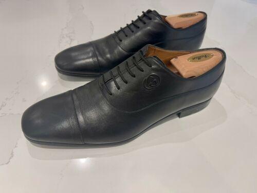 Gucci Leather Lace-Up Mens Black Oxford Dress Shoe