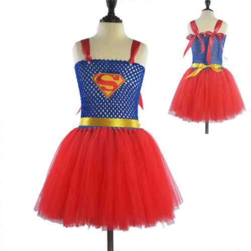Supergirl Karneval Party Kostüm Kinder Mädchen Tutu Kleid Festkleid Cosplay DE