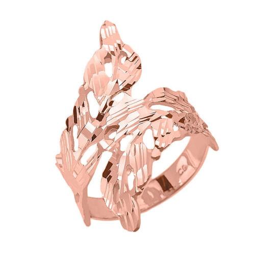 Pure 14k Oro Rosa Talla Diamante Corona de Laurel Interconectado Hojas
