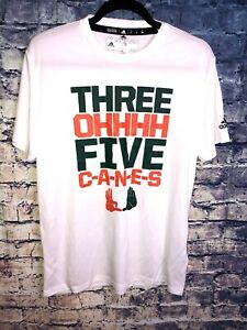 Adidas-White-Miami-Hurricanes-Three-Ohh-Five-Canes-T-shirt-Size-M-Rare-Only1
