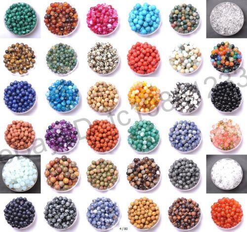 Cuentas Sueltas Espaciadoras Redondas de Piedras preciosas Naturales 4MM 6MM 8MM 10MM 12MM