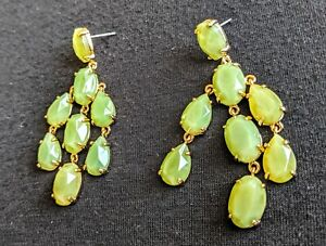 Stella-And-Dot-Lily-Chandelier-Earrings-Soft-Green-Jade-Mint-Color-Gold-Tone