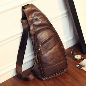 Men-039-s-Vintage-Cow-Leather-Sling-Chest-Bag-Travel-Backpack-Cross-Body-Day-Pack